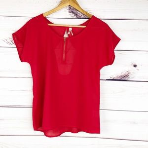 T166 Truth NYC Red sheer blouse, back cut out